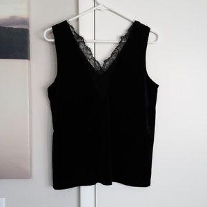 Tops - Sleeveless velvet black lacy Top (NWOT)